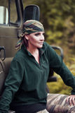 Woman in camouflage bandana Royalty Free Stock Photo