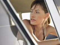 Woman In Campervan During Road Trip Royalty Free Stock Image