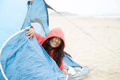 Woman camping Royalty Free Stock Photography