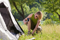 Woman camping Stock Photos