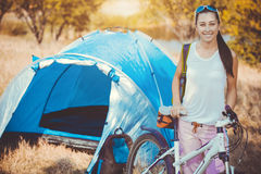 Woman camping in the park Royalty Free Stock Image