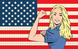 Woman We Can Do It United States America Flag Pop Art Retro Style. Woman We Can Do It United States Of America Flag Pop Art Colorful Retro Style Vector Royalty Free Stock Image