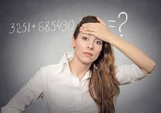 Woman can't solve math problem Stock Images