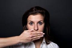 Woman can't speech Stock Photo