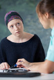 Woman with cancer and her doctor Stock Photo