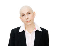 Woman cancer patient undergoing chemotherapy Royalty Free Stock Image