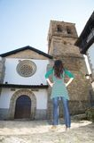 Woman at candelario church Royalty Free Stock Photo