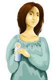 Woman candle character cartoon style  illustration white Stock Photo