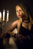 Woman with candles Royalty Free Stock Photos