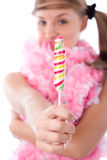 Woman with candy Royalty Free Stock Image
