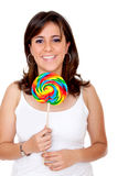 Woman with a candy Stock Photos