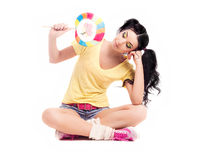 Woman with candy Stock Photography