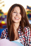 Woman with candy floss. In the lunapark Stock Photos