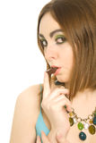 Woman with candy in her lips Royalty Free Stock Image