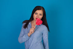 Woman and candy Royalty Free Stock Photo