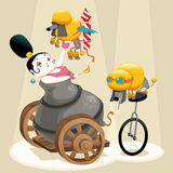 Woman with cannon and dachshunds in the circus. Cartoon and  illustration. Isolated objects Stock Photo
