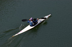 Woman in the canoe royalty free stock photography