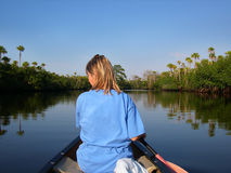 Woman in Canoe. Woman canoeing in the Florida Everglades on a sunny day Stock Photo