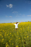 Woman in Canola Field Royalty Free Stock Photos