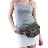 Woman with canvas waist bag Stock Photo