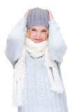 Woman with cap and muffler Stock Image