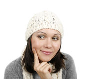 Woman in cap and scarf Royalty Free Stock Photo