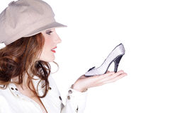 Woman with cap an shoes Royalty Free Stock Images