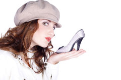 Woman with cap an shoes Royalty Free Stock Photography