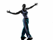Woman capoeira dancer dancing silhouette Royalty Free Stock Image