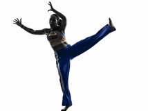 Woman capoeira dancer dancing silhouette Royalty Free Stock Photo