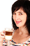 Woman with cappuccino licks her Royalty Free Stock Images