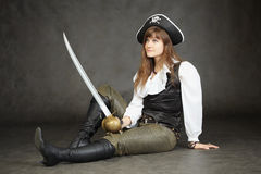 Woman - captain of pirates sitting Royalty Free Stock Photo