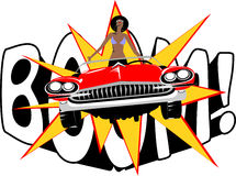 Woman car. The woman on the car against letters in pop art stylistics Stock Photos