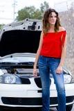 Woman car. Woman waits help to repair car Stock Photo