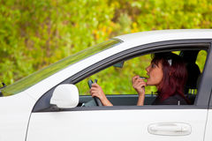 Woman in a car Royalty Free Stock Photos