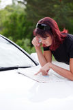 Woman and a car Stock Image