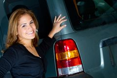 Woman with a car Royalty Free Stock Images