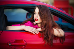 Woman in car Royalty Free Stock Photo
