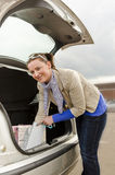 Woman and car Royalty Free Stock Images
