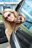 Woman in the car Royalty Free Stock Photography