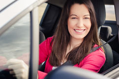 Woman in car. Woman Sitting In Car Getting Ready To Drive Royalty Free Stock Photography