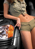 Woman on car Royalty Free Stock Photography