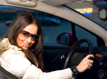 Woman in a car Royalty Free Stock Photo