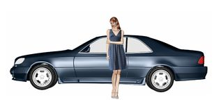 Woman and car. Mixed media 3d render and illustration of a woman standing with her car Stock Photography