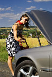 Woman and the car accident Stock Image
