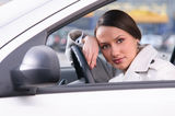 Woman in car Royalty Free Stock Photos