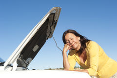 Woman car breakdown Stock Images