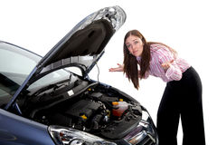 Woman car breakdown Royalty Free Stock Photo