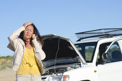 Woman car breakdown road assistance Stock Image