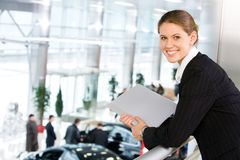 Woman in car center Royalty Free Stock Photo